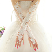 The bride Lace Gloves Gloves White Wedding Bride Wedding Wedding Gloves Red in autumn and winter lengthened gloves