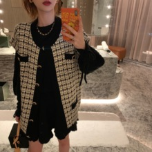 Mrs. Qian's Chequered Little Fragrance Knitted cardigan jacket Women's Spring and Autumn Korean version of loose-style sweater long-sleeved jacket