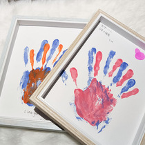 Diy couple mudra) Photo frame A pair of oil painting frames press the palm film heart finger press the mud graffiti color souvenir gift