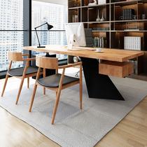 Office desk Boss desk Solid wood log board table President desk Manager desk Supervisor desk Single desk chair combination