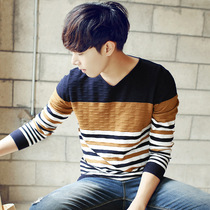 Mens trend of the Korean version of the v neck winter sweater