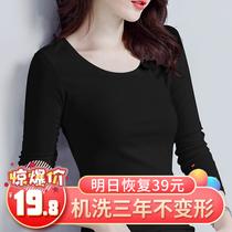 Cotton Black base shirt Women Long Sleeve Thin T-Shirt 2021 Spring and Autumn Interior Wear Autumn Clothes Chic Joker Top