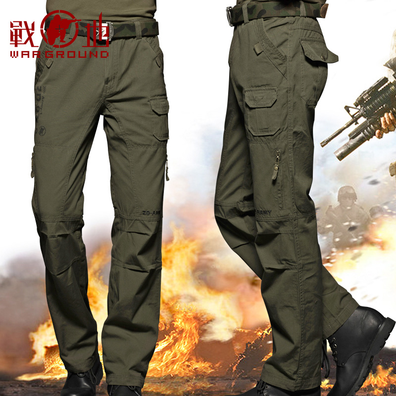 Battlefield outdoor camouflage trousers men's loose wear-resistant tactical trousers multi-pocket overalls for training trousers summer thin pants