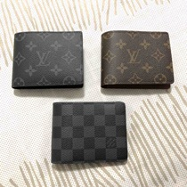 French purchasing LV Male wallet 16 early autumn new men dark grey old flower short wallet