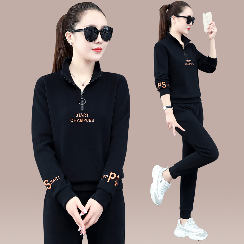 Sports suit womens spring and autumn 2021 new fashion stand-up collar long-sleeved casual running wear womens sweatshirt two-piece set of tide