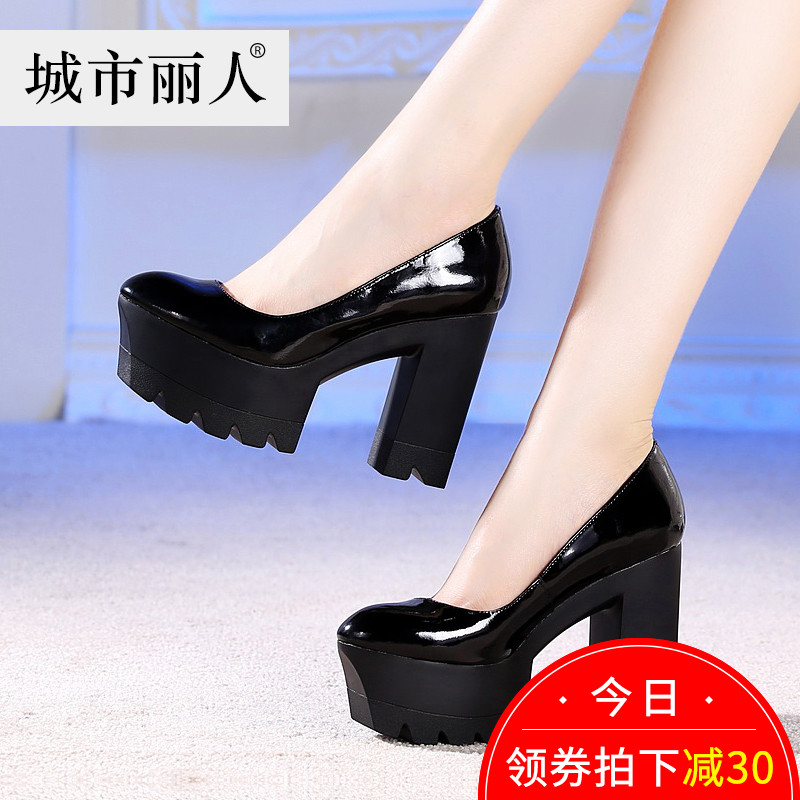 City Beauty Autumn Women's Shoes Waterproof Platform Thick-heeled Fashion Leather Black High-heeled Shoes Shallow-mouth Single Shoe Women