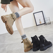 2018 new Korean version of chic, flat bottomed little boots, spring and autumn boots, antique British boots, Martin boots.