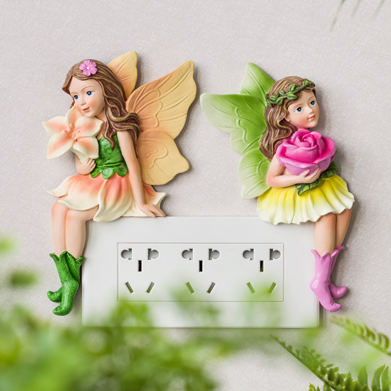 Double-switch protective sleeve wall-mounted decorative simple modern socket-mounted European-style creative resin bedroom cartoon