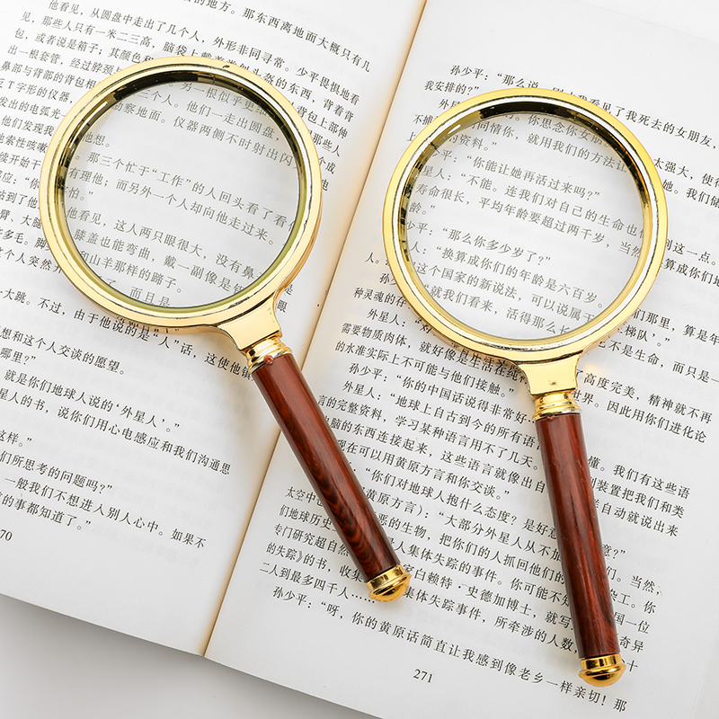 Handheld magnifying glass HD 10 times portable outdoor outdoor spotlight ignition children students with elderly reading