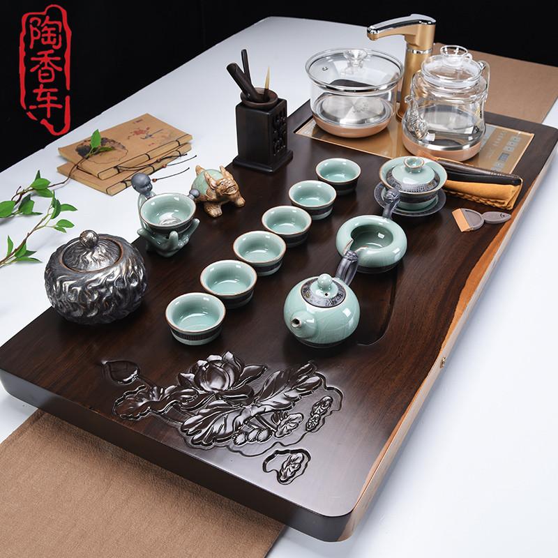 Ebony solid wood tea plate pear tea table ceramic purple sand kungfu set tea set living room office simplicity