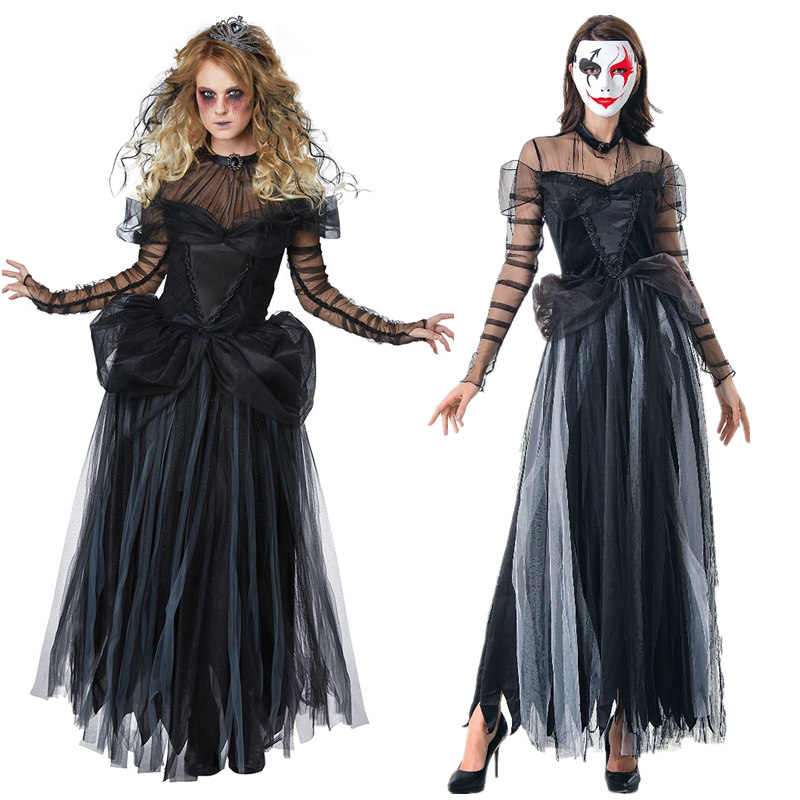 Halloween Vampire Costume Adult ghost masquerade ball death Cape Cosplay Corpse Bride Dress