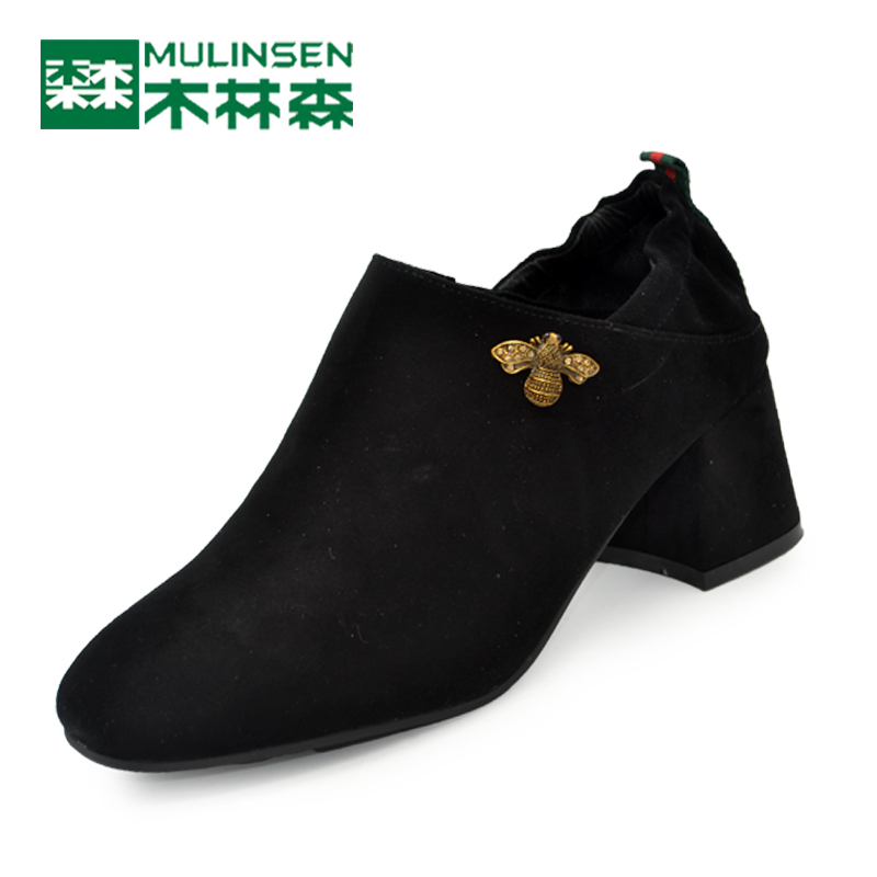Mulinsen women's shoes autumn-style sanded cowhide women's single shoes with thick heels, round head and low upper, fashionable leather shoes with overshoes