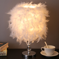 Feather table lamp bedroom bedside lamp creative romantic simple modern Night Light Wedding Room warm decoration table lamp