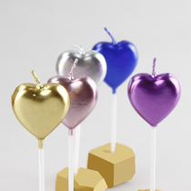 New love birthday candle purple pink blue Gold silver cake decoration Childrens party creative romantic Valentines Day
