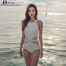 Swimsuit feminine conjoined triangle small chest gathered Slim body covered hot springs large size Korea ins net red swimsuit