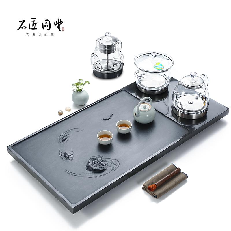 Wujin stone tea plate kung fu tea set fully automatic water tea table one with induction cooker home stone tea sea