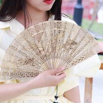 Golden silk Nanmu fan hollow carving grand exhibition grand plan for self-use gift collection is suitable