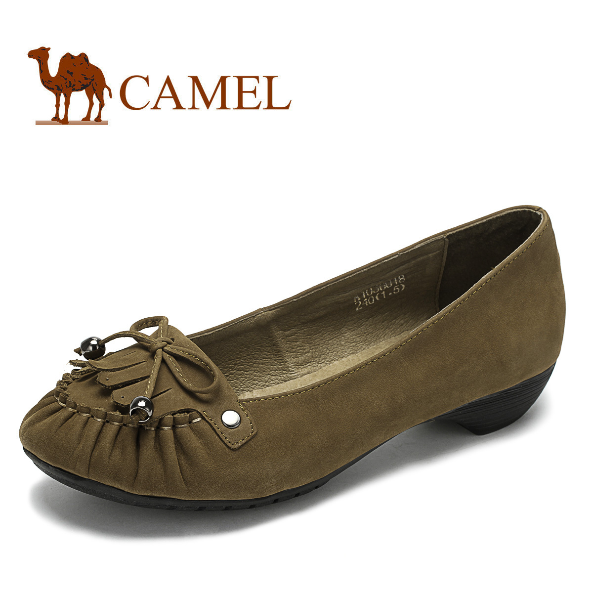 CAMEL camel women's shoes, matte leather feet, stylish and comfortable casual pointed shoes, shallow mouth shoes