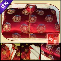 五领三腰全套寿衣 高档男女寿衣七件套枣红色 全套配件 正品