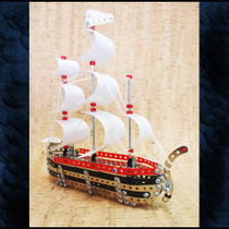 Metal assembling pirate ship sailing model steel Commander Boy Puzzle toy alloy nut assembling building blocks