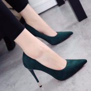 The European station points with the heels of high-heeled shoes 10cm shallow mouth shoes 2017 spring and autumn new style single shoes OL shoes