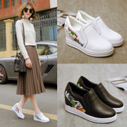 In the spring of 2017 the new Lok Fu shoes flat shoes in women all-match Korean leisure sport white shoes