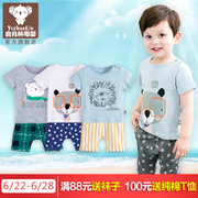 Yu Zhaolin baby summer male children short sleeved suit two pieces of cotton Childrens Boys summer sports at the age of 1-3