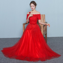 Fashionable one word shoulder red banquet toast