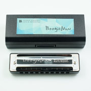 BoogieMan (black) recommended for beginners ten hole 10 hole harmonica Blues Bruce