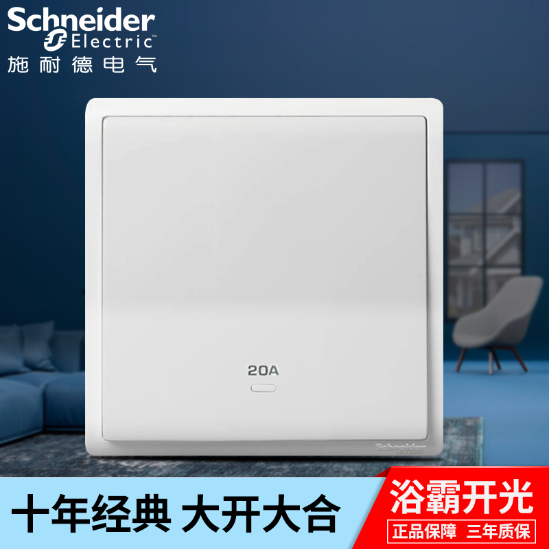 Schneider Bath Switch Fengshang Series 20A with Neon Light Indicating Bipolar Switch E8231D20N Household