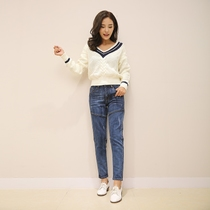 Korean version of the 2017 new BF loose female mosaic size leisure harem jeans pants pants spring students feet left bank