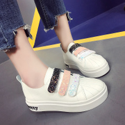 In the spring of 2017 new Korean all-match white shoes thick bottom shoes with Velcro shoes female student shoes tide