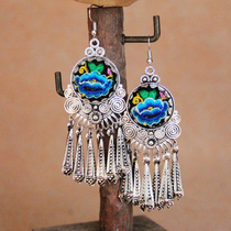 New womens earrings earrings National style embroidered earrings embroidered seedling silver earrings jewelry original earrings womens jewelry