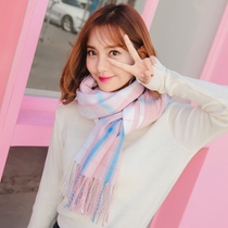 Scarf girl Korean version of winter Plaid Joker autumn cashmere long students fresh and knitted shawl small dual-use