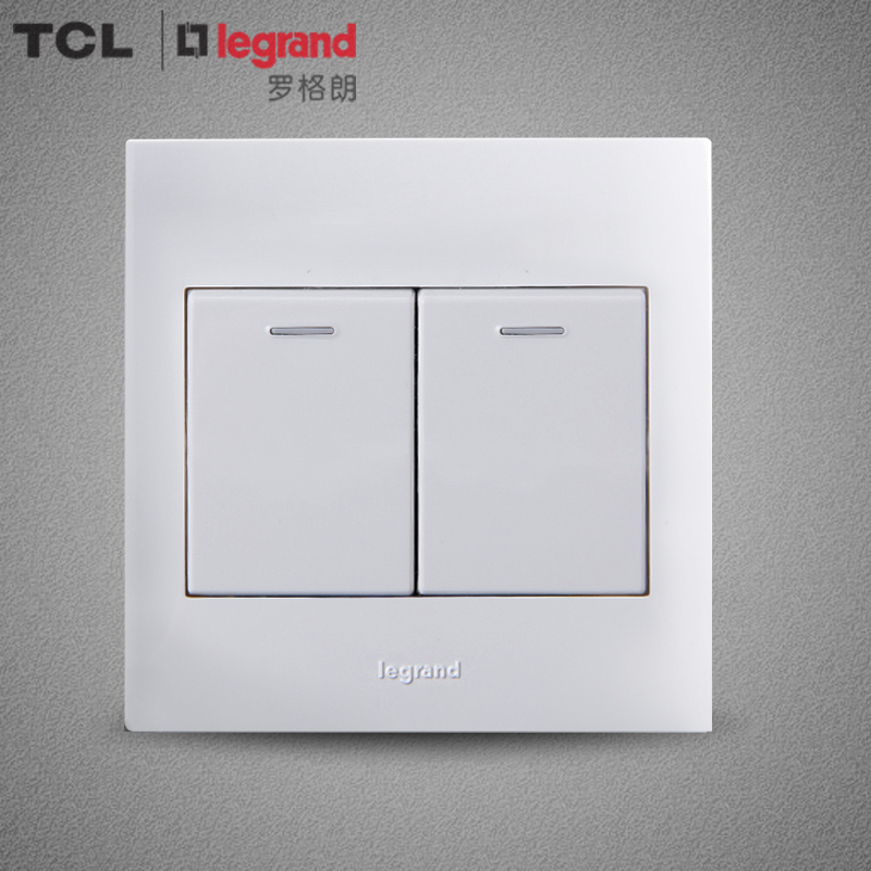 TCL Legrand switch panel 86 type wall switch socket panel Shi Jie white series two open dual control