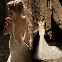 Fishtail trailing lace slim sexy Backless a word shoulder wedding dress