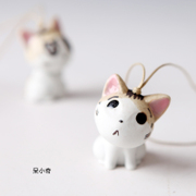 Song Qing porcelain ornaments handmade ceramic jewelry bag hanging with cute kitten ceramic ornaments bag pendant car accessories