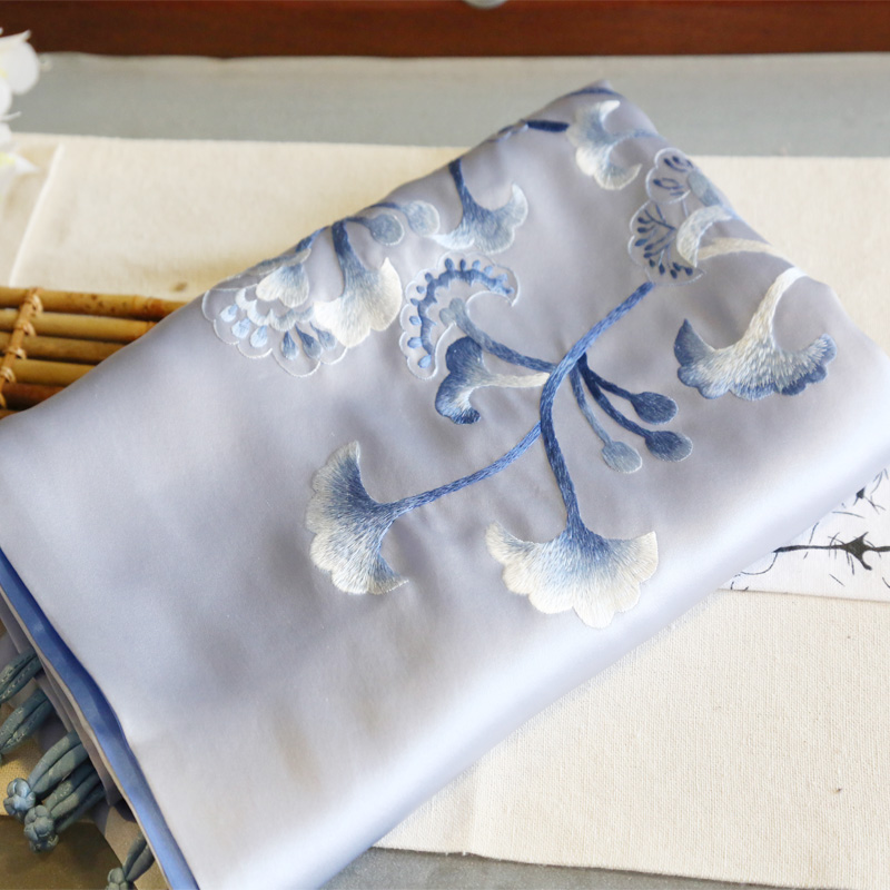 Jiaogu Su embroidery handmade embroidery silk double-color Scarf Shawl dual-purpose Ginkgo biloba Festival gift