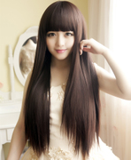 Long wig hair long hair straight hair long wig straight hair repair face woman wig realistic nature
