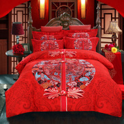 Zoe textile cotton wedding four piece bedding Cotton wedding red dragon thick sanding