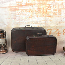 Antique Chinese suitcase old-style vintage wooden box shop decoration box shooting Republic style props.
