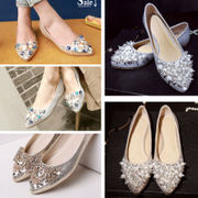 2017 new spring summer wedding shoes shoes diamond tip shallow mouth increased all-match flat casual women shoes