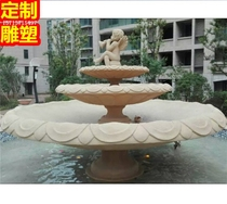 Large flowerpot Cement sculpture district stacked waterfall FRP Fish Pond Round pool large rockery water decoration