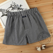 The young boxer woven cotton plaid trousers aro four increase angle Home Furnishing male short waist pants breathable underwear