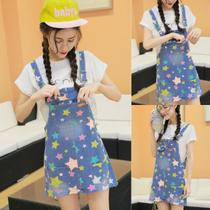 Summer new girl girl students Fan fashion five cents star printing school wind sweet cute cowboy strap skirt