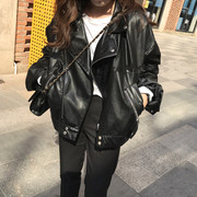South Korea chic wind all-match locomotive PU leather jacket lapel loose female BF solid thin leather wind handsome students