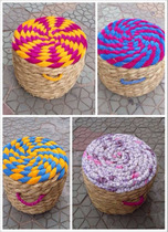 Yunnan Dali Weishan Creative Home minority characteristics Grass pier straw Stool primary color second