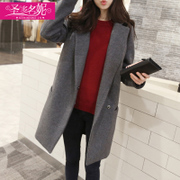 Anti season winter wool coat coat girls long 2017 Korean New South Korean students loose woolen clearance