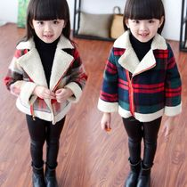 Girls plus down quilted cashmere Plaid coat 2017 spring new thicker woolen fashion coat flows