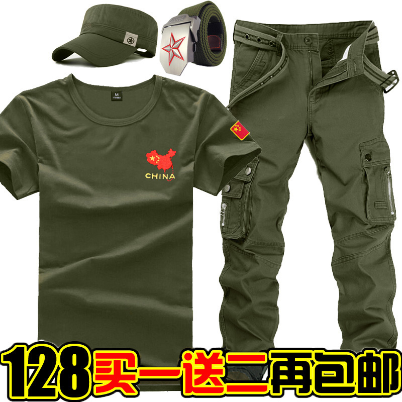 Military uniform Adult camouflage uniform Soldier's clothes Men's training suit Summer casual short sleeve T-shirt special thin soldier